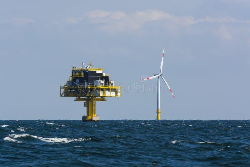 Frånlands- avdelningskontor- och vindturbin royaltyfria bilder