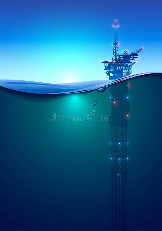 Frånlands- borrplattform för olja i havet på gryning Härlig bakgrund för oljeindustri skissar den svarta oljeplattformen f?r bakg stock illustrationer