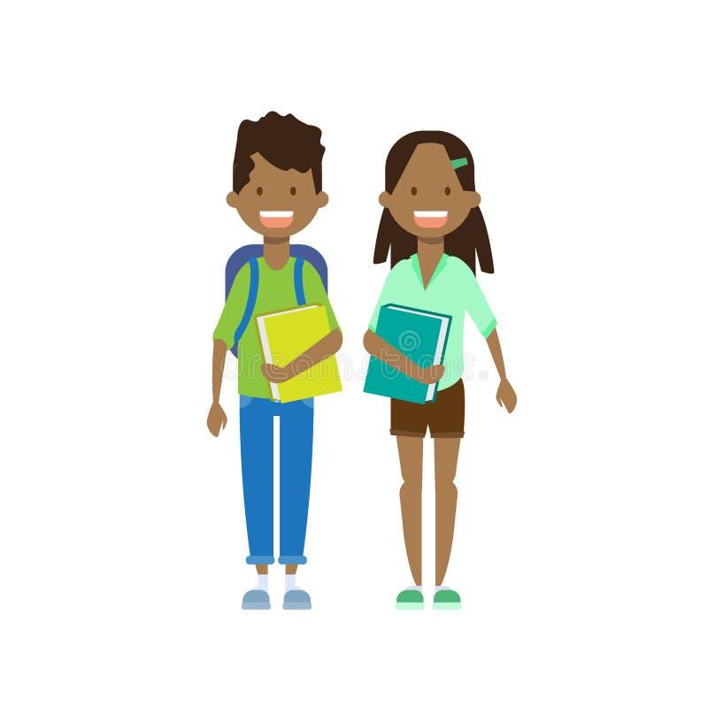 Frère africain de soeur de fille de garçon avec l'avatar intégral de livres sur le fond blanc, concept de la famille réussi, plat illustration de vecteur
