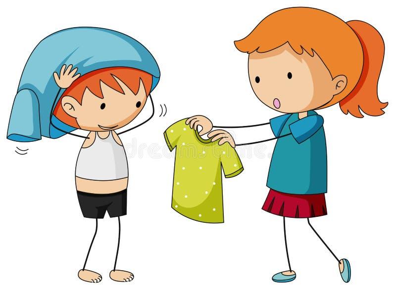 Frère de aide de soeur obtenant habillé illustration stock