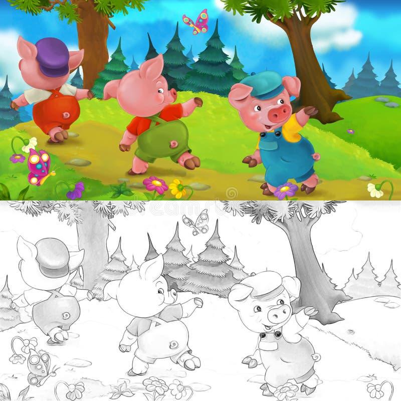 Frère de porc de la scène trois de bande dessinée partant en voyage sur une colline - avec la page de coloration illustration de vecteur