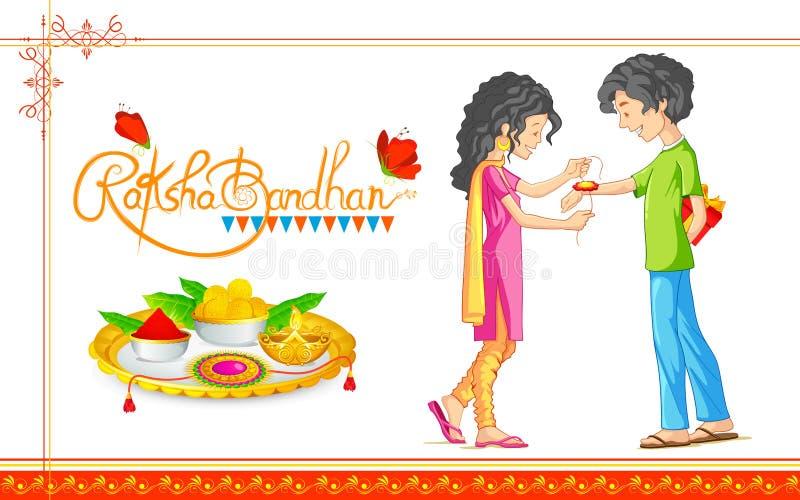 Frère et soeur attachant le rakhi sur Raksha Bandhan, festival indien illustration de vecteur
