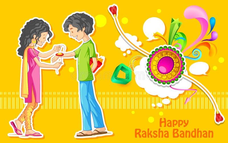 Frère et soeur attachant le rakhi sur Raksha Bandhan, festival indien illustration libre de droits