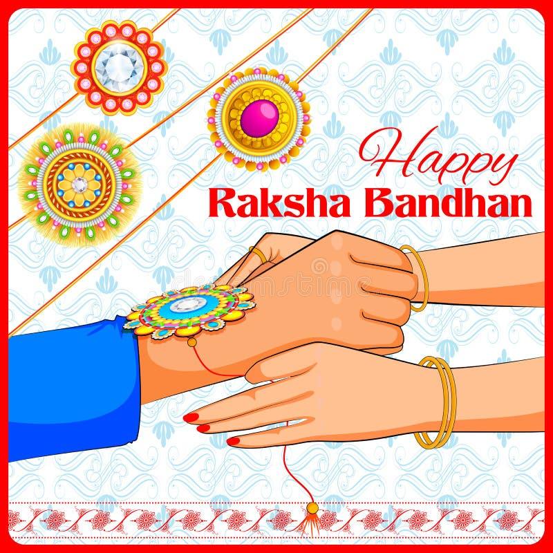 Frère et soeur attachant Rakhi sur Raksha Bandhan illustration stock
