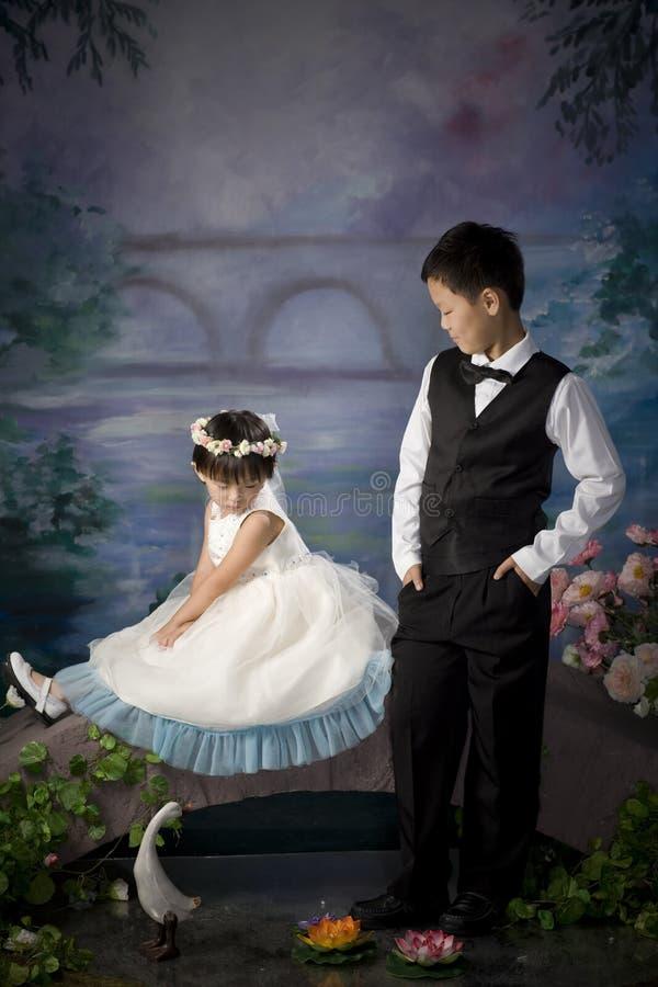 Frère et soeur chinois photos stock