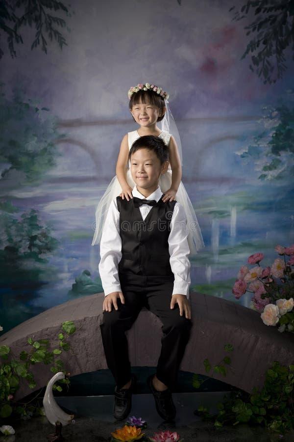 Frère et soeur chinois images libres de droits