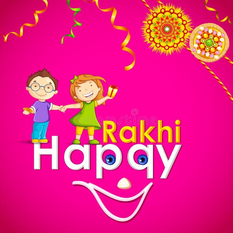 Frère et soeur en Raksha Bandhan illustration de vecteur