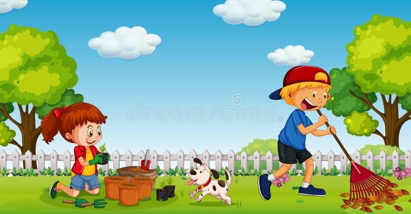 Frère et soeur Gardening en Sunny Day illustration de vecteur