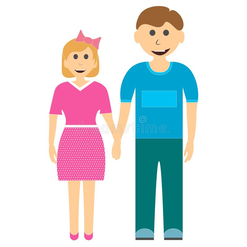 Frère et soeur jugeant des mains d'isolement sur le fond blanc illustration stock