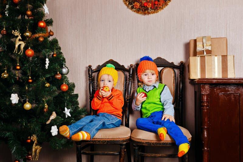 Frère et soeur mangeant des pommes près d'un arbre de Noël image libre de droits