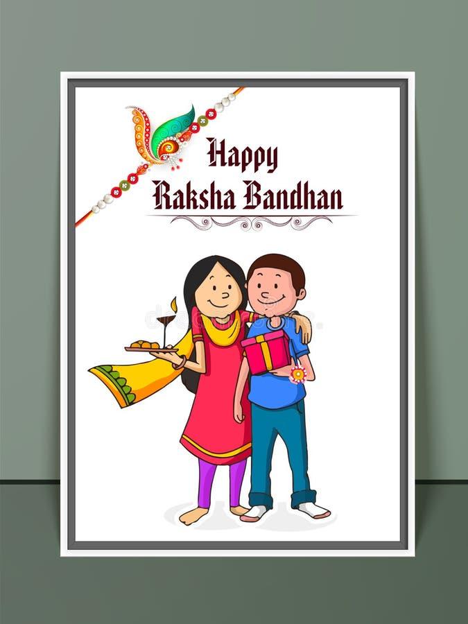 Frère et soeur pour la célébration de Raksha Bandhan illustration libre de droits