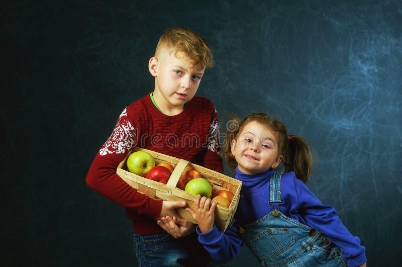 Frère et soeur tenant un panier des pommes photo libre de droits