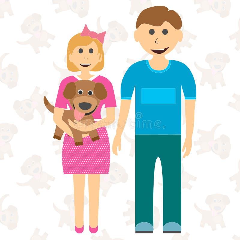 Frère heureux d'enfants de soeur et de chiot Rêvé du chien Vecteur illustration stock