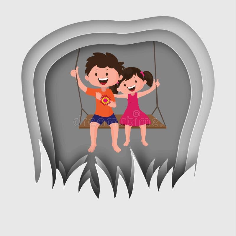 Frère heureux et soeur balançant sur le fond gris f de coupe de papier illustration libre de droits