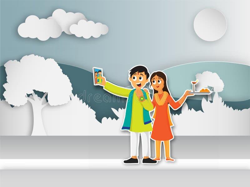 Frère heureux et soeur prenant le selfie après célébration de Raksha illustration stock