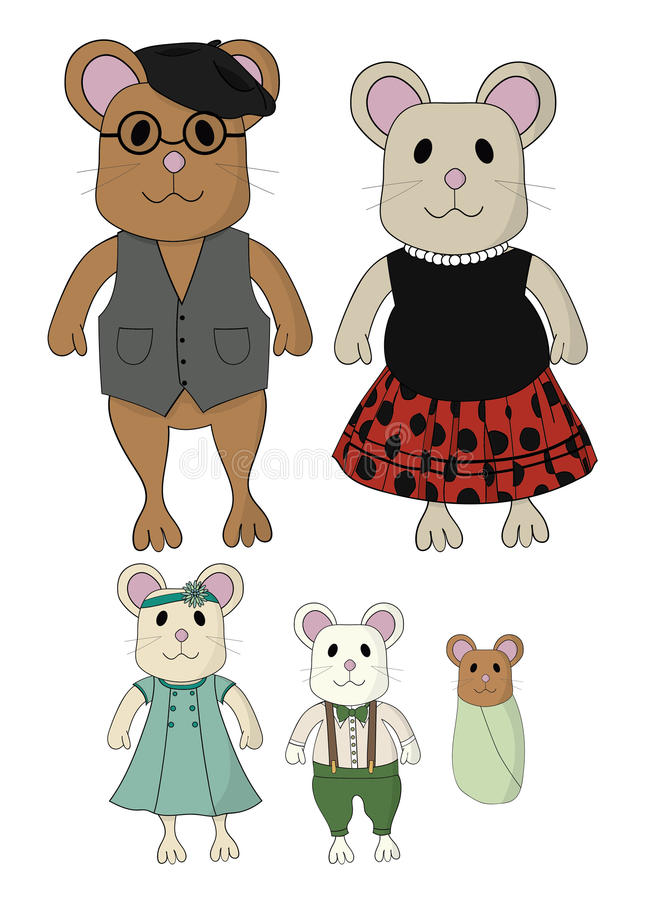 Frère mignon Baby de soeur de papa de maman d'habillement de vintage de bande dessinée de famille de souris illustration stock