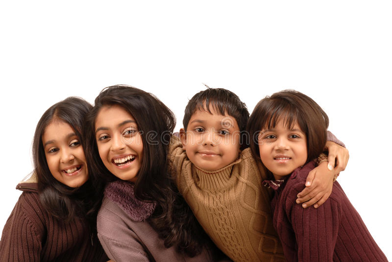 Frères indiens et trois soeurs images libres de droits