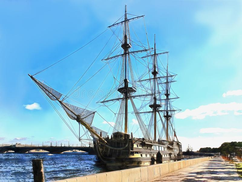 Frégate de bateau sur Neva River à St Petersburg illustration stock