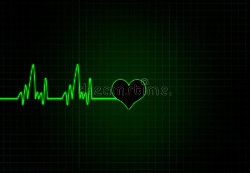Fréquence cardiaque dans la couleur blanche avec la forme de coeur illustration de vecteur