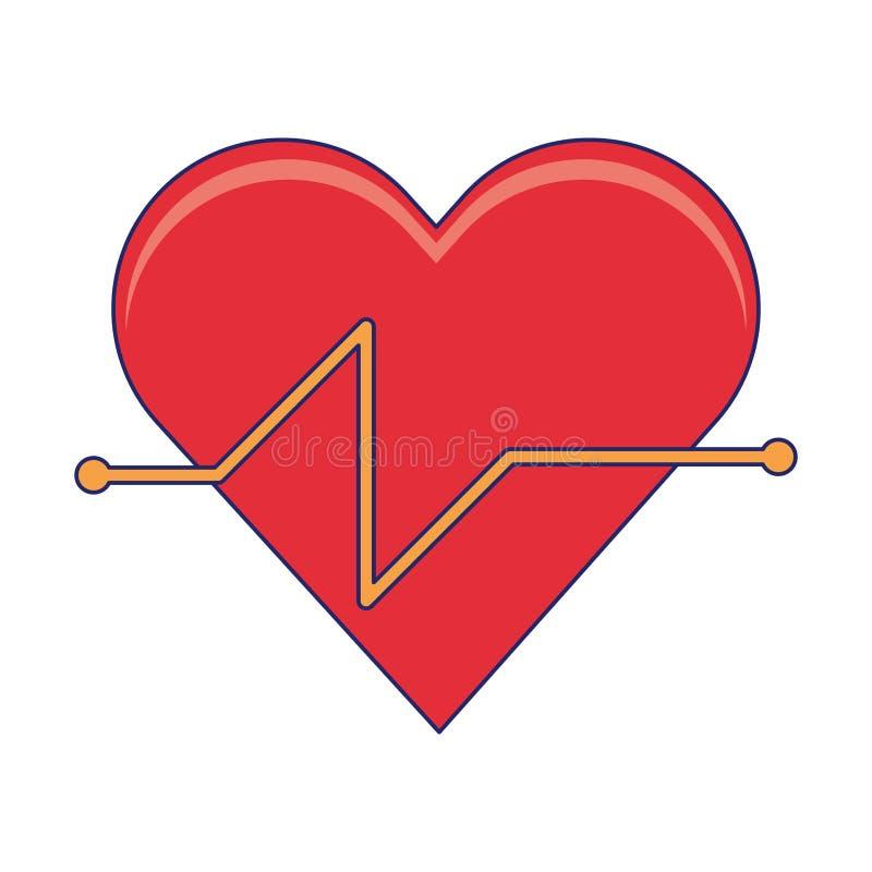 Fréquence cardiaque et coeur sain illustration libre de droits