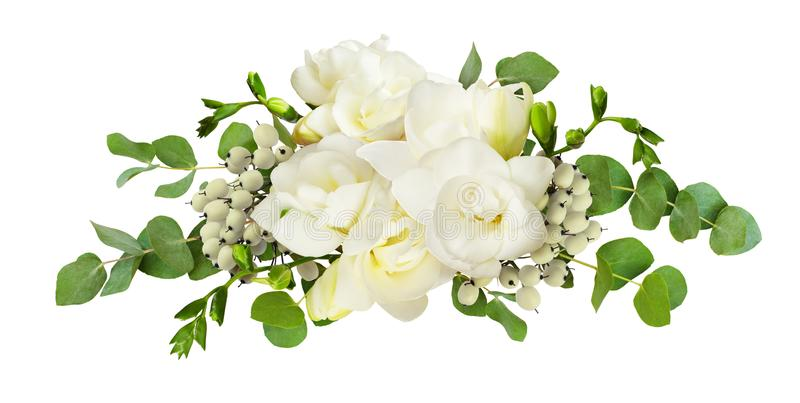 A frésia branca fresca floresce e o eucalipto sae no arranjo imagens de stock