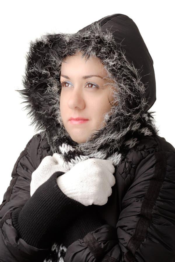 Frío atractivo joven de la sensación de la mujer imagen de archivo