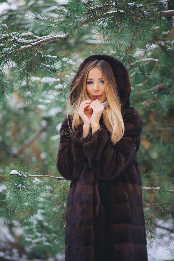 Frío de la muchacha en bosque del invierno imagen de archivo libre de regalías
