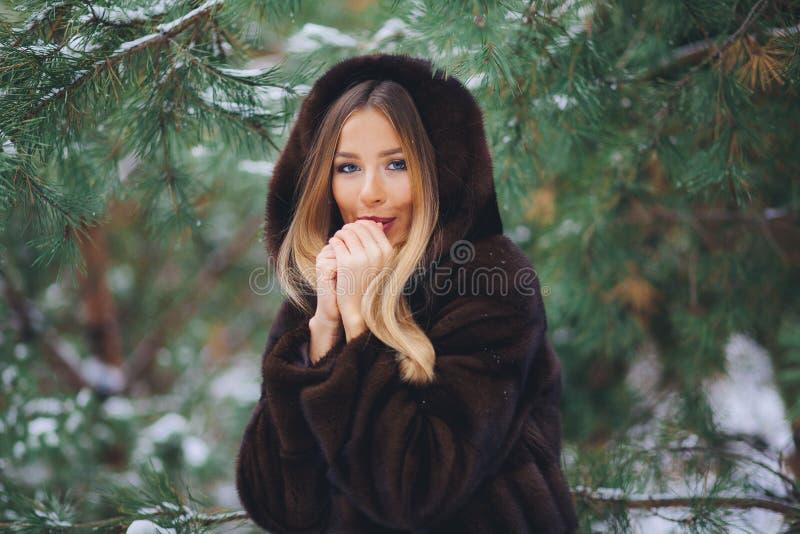 Frío de la muchacha en bosque del invierno imagen de archivo