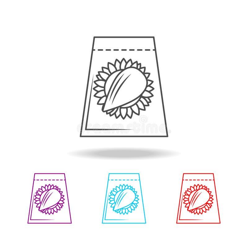 Frö i packesymbolen Beståndsdelar av livstil i mång- kulöra symboler Högvärdig kvalitets- symbol för grafisk design Enkel symbol  royaltyfri illustrationer