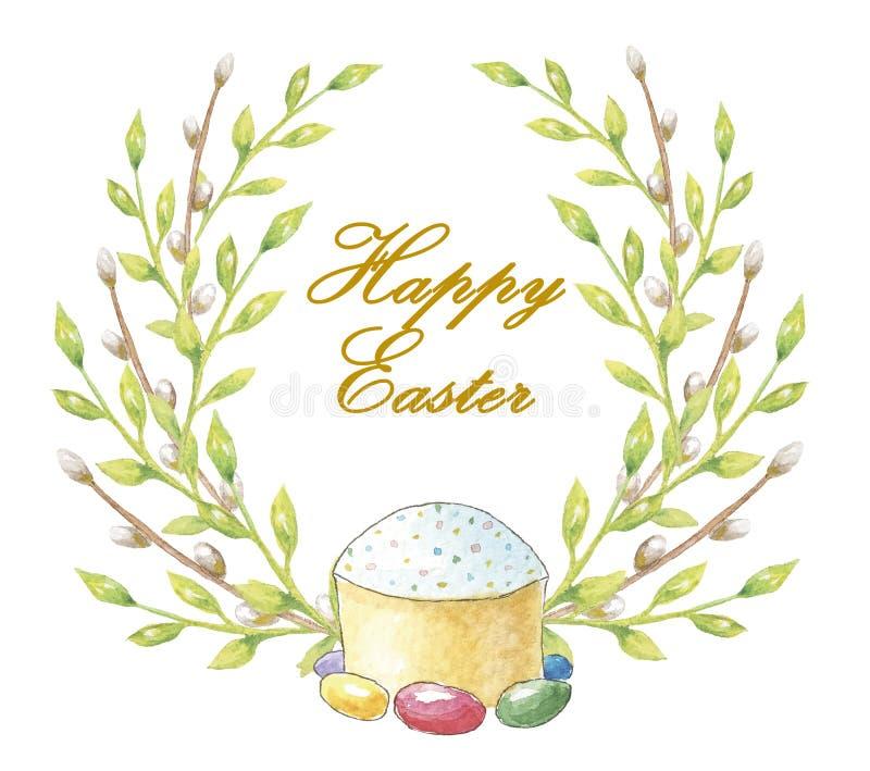 Fröhliche Ostern Aquarellkuchen mit einem Kranz von grünen Blättern und von Weidenniederlassungen mit der Aufschrift für Karten,  stock abbildung