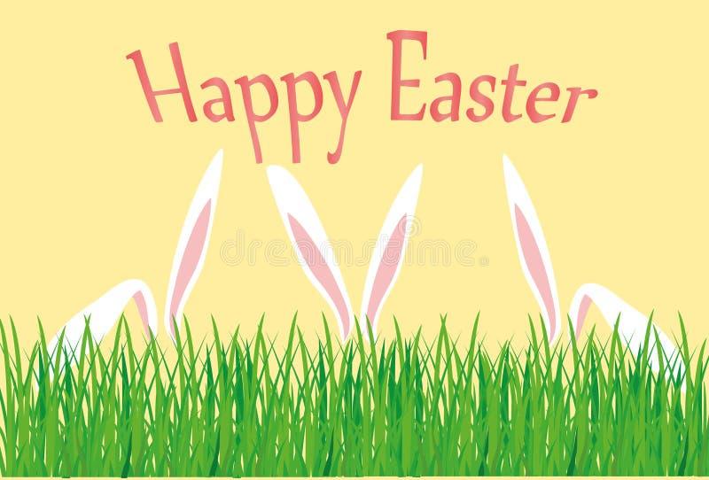 Fröhliche Ostern Kaninchen mit den Ohren versteckt hinter dem Gras glückliches neues Jahr 2007 vektor abbildung