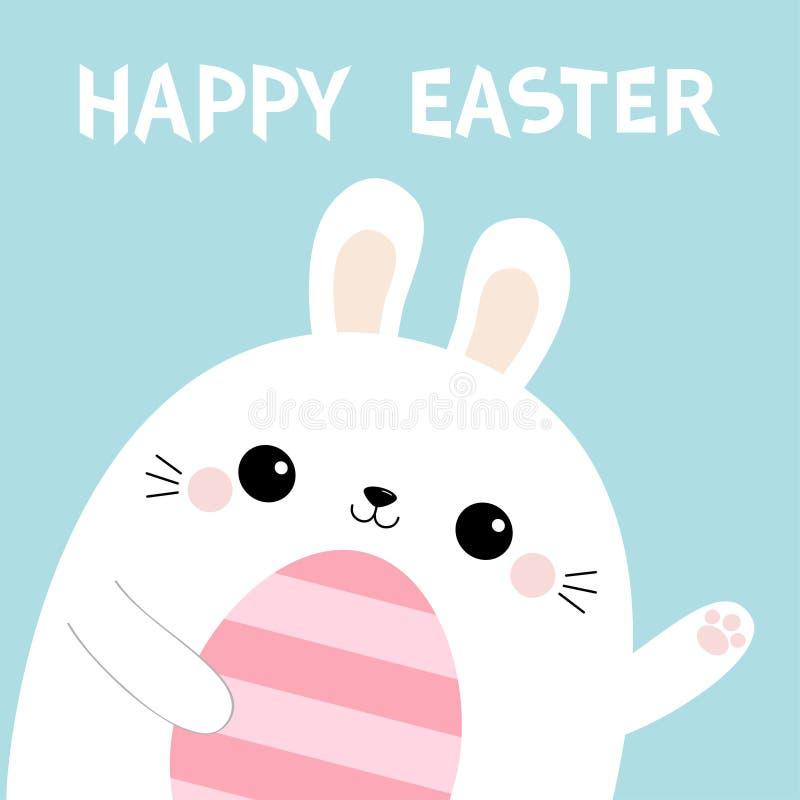 Fröhliche Ostern Kaninchenhäschen-Kopfgesicht, das malendes Ei hält Wellenartig bewegende Pfotenabdruckhand Nettes Karikatur kawa lizenzfreie abbildung