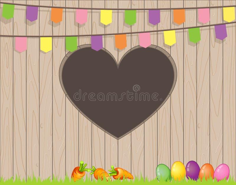 Fröhliche Ostern mit Eiern und Karotten auf Gras - Zaun mit Herdformloch mit Flaggen vektor abbildung