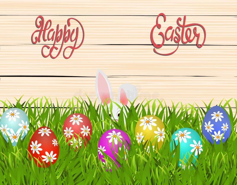 Fröhliche Ostern Ostern färbte Eier mit einem Muster von Gänseblümchen Das Kaninchen versteckt sich im Gras Abbildung lizenzfreie abbildung
