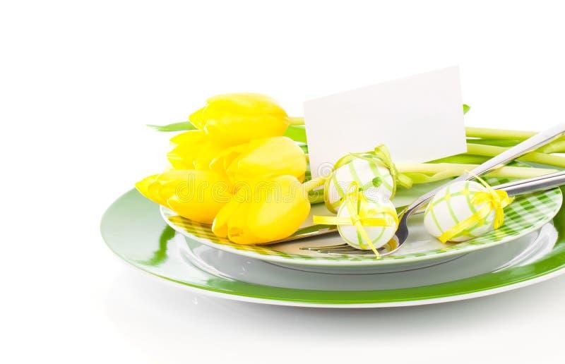 Fröhliche Ostern, Ostern-Tabellengedeck, stockbilder