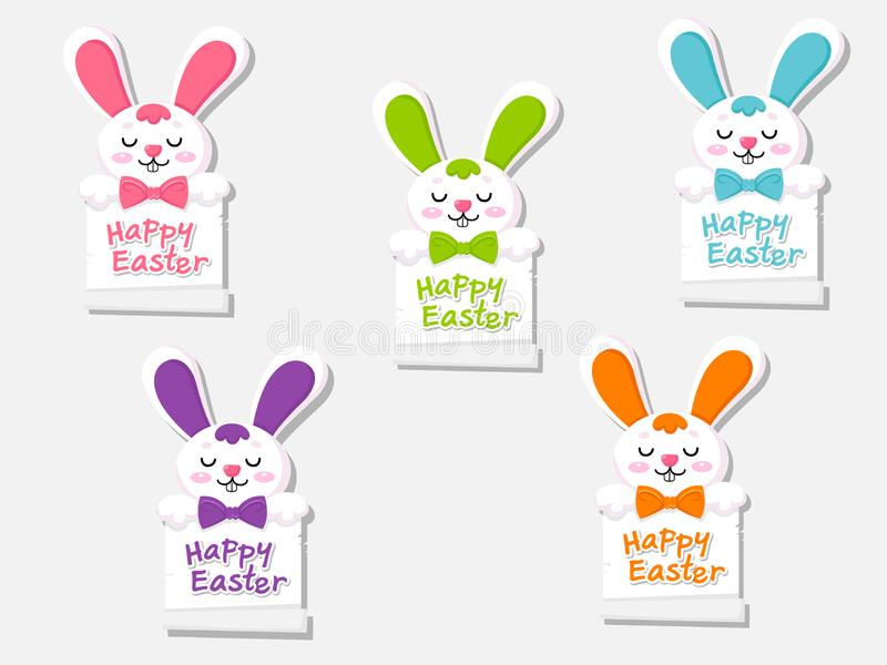 Fröhliche Ostern stellten Grußkarte mit nettem Karikaturhäschen ein Dekoratives Element der Vektorillustration an Ostern-Tag vektor abbildung