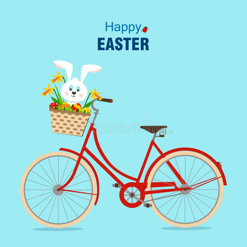 Fröhliche Ostern und Fahrrad mit Kaninchen lizenzfreie abbildung