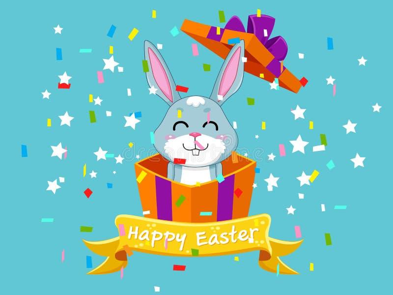 Fröhliche Ostern und nettes Häschen, das aus die Geschenkbox herauskommt Dekoratives Element der Vektorillustration an Ostern-Tag vektor abbildung