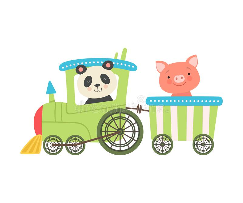 Fröhliche Red Cheeked Panda and Pig Driving Toy Train Vector Illustration stock abbildung