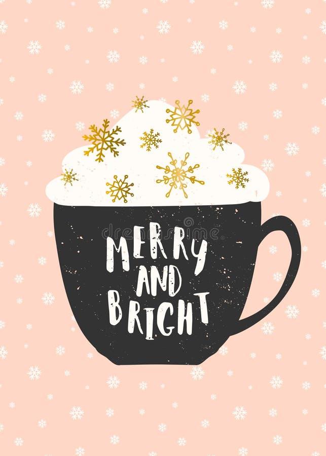 Fröhliche und helle Weihnachtsgruß-Karte lizenzfreie abbildung