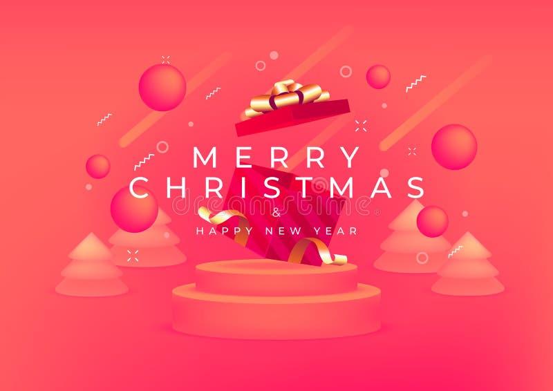 Fröhliche Weihnachten und glückliches Neues Jahr mit roter Geschenkbox und Goldband Banner 3D-Tiefe und realistische Festivitäten stock abbildung