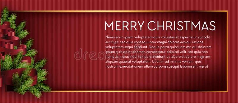 Fröhliche Weihnachtsbaumfeiertage Kiefer, Niederlassungstannenvektorfahne oder Flieger stock abbildung