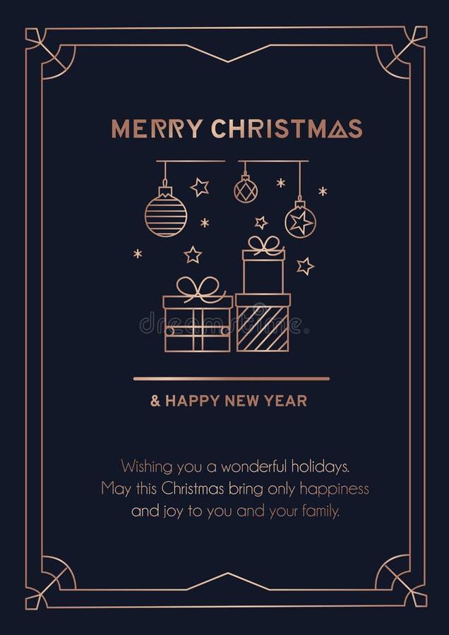 Fröhliche Weihnachtsgrüßkarte mit rosa Goldlinien und dunklem Hintergrund Weihnachtsbällen, Schneeflocken, Lineargeschenke und lizenzfreie abbildung