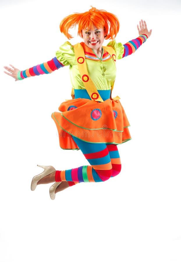 Fröhlicher Clown springt lizenzfreies stockfoto