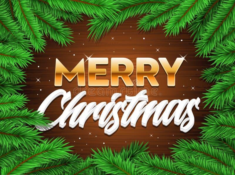 Fröhlicher glückliches Weihnachtsfahnenbaumast-Weihnachtshintergrund stock abbildung