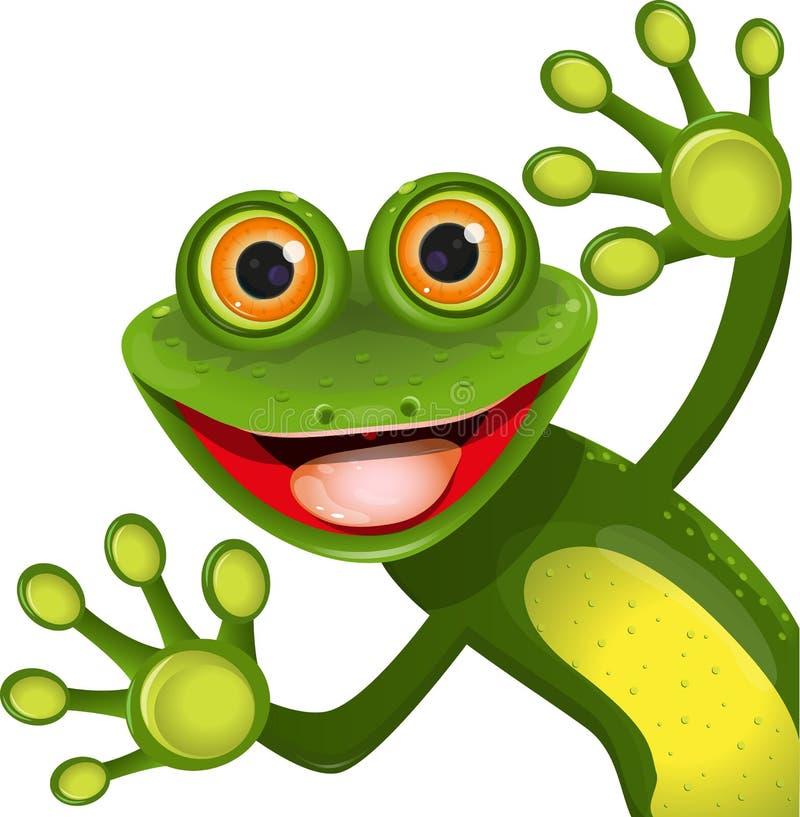 Fröhlicher grüner Frosch lizenzfreie abbildung