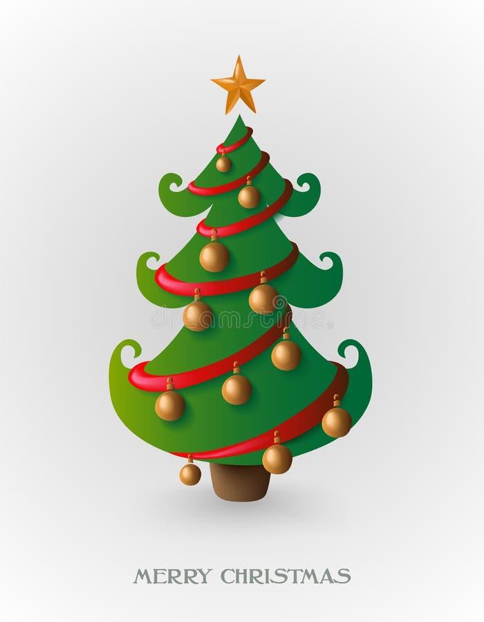 Fröhlicher Weihnachtsbaum mit Datei des Goldflitters EPS10. stock abbildung