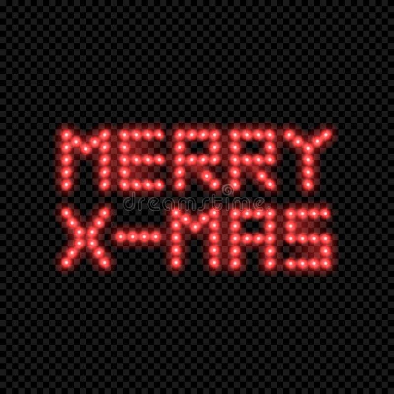 Fröhliches Weihnachten Aufschrift gemacht von den geführten Lichtern lokalisiert auf dunklem Hintergrund Glühender Text in den ro stock abbildung