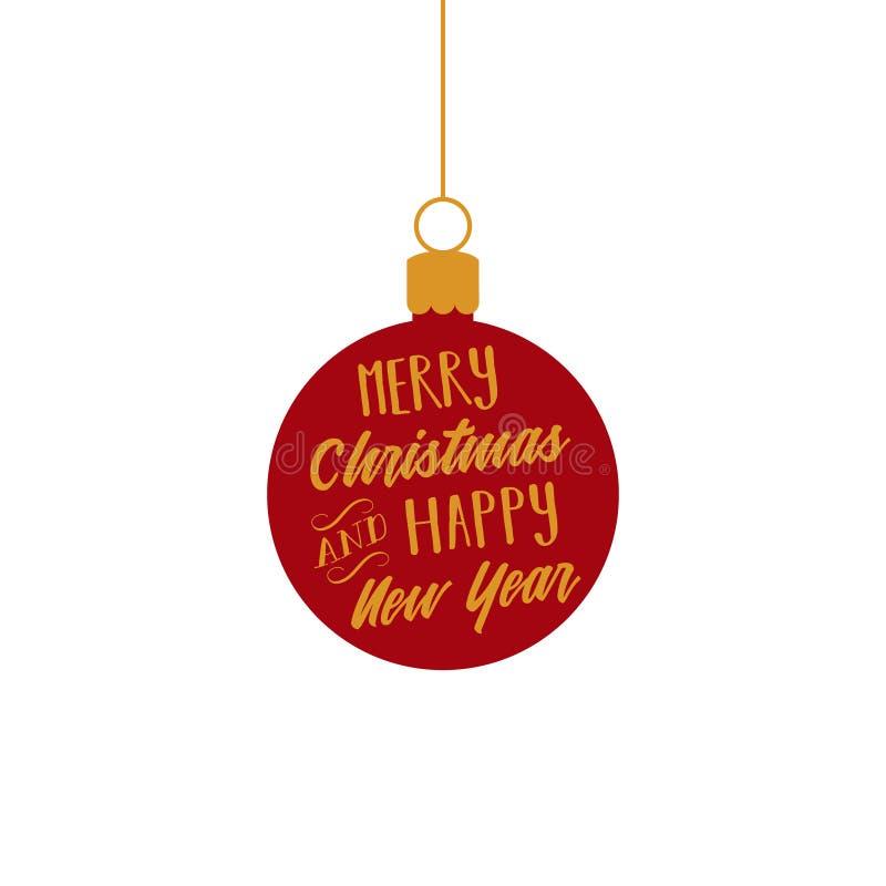 Fröhliches Weihnachten und guten Rutsch ins Neue Jahr, Rot und Goldkugel verzieren Vektorgraphikillustration lizenzfreie abbildung