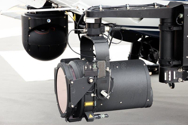Fröskida för kamera för ljus för sökande för polishelikopter arkivfoto